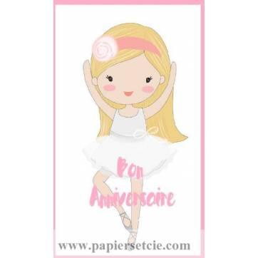 Carte simple artisanale Bon Anniversaire Danseuse blonde