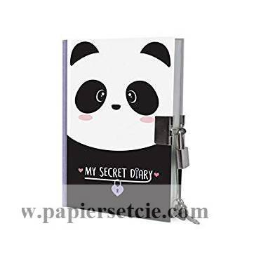Carnet secret A6 fermeture à clés, Panda