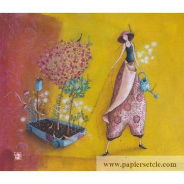 Carte simple Gaelle Boissonnard  14 x 15,5 Le chariot fleuri