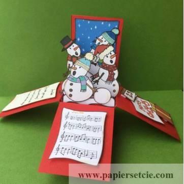 """Carte Noël 3 D Pop Up DIY à monter """"Bonhommes de Neige"""""""