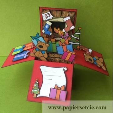 """Carte Noël 3 D Pop Up DIY à monter """"Cheminée"""""""