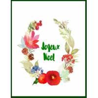 Carte artisanale Joyeux Noël aquarelle Arc Fleurs rouges