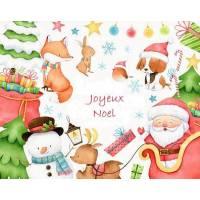 Carte artisanale Joyeux Noël Père Noel, Renard, Renne