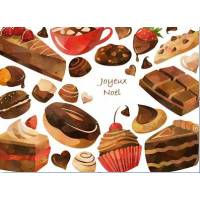 Carte artisanale Joyeux Noël Gateaux au chocolat