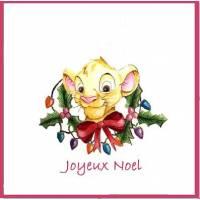 Carte artisanale Joyeux Noël Petit Lion Disney