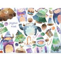 Carte artisanale Joyeux Noel Les monstres