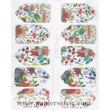 Etiquettes cadeaux fleuries (2 feuilles de 10 Etiquettes)