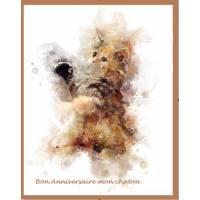 Carte artisanale Aquarelle Chat Bon anniversaire mon Chaton