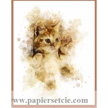 Carte artisanale Aquarelle Chat Chaton Roux