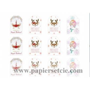 Etiquettes cadeaux Noêl  Licorne,Renne et Sirène (2 feuilles de 12 étiquettes)