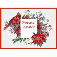 Carte artisanale Bonne Année Oiseau Cardinal et Poinsettias