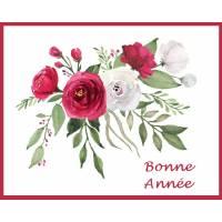 Carte artisanale Bonne Année Bouquet de Roses Fushias et blanches