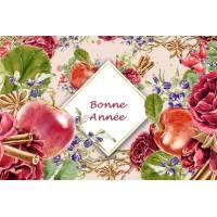 Carte artisanale Bonne Année Pommes, Cannelle et Roses