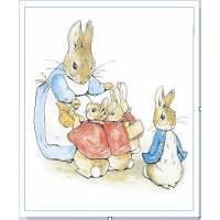 Carte artisanale Vintage Beatrix Potter Famille Peter Rabbit départ à l'école