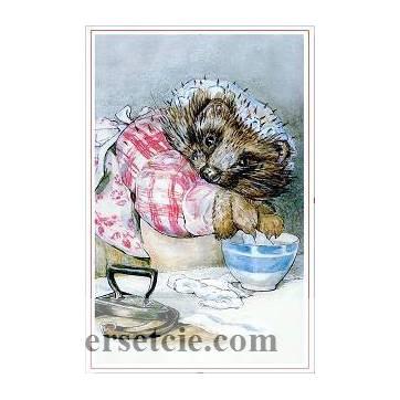 Carte artisanale Vintage Beatrix Potter Hérisson lavant le linge