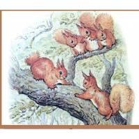 Carte artisanale Vintage Beatrix Potter Ecureuils dans l'arbre