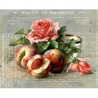 """Carte artisanale Vintage """"Fruits et primeurs"""" Pêches et Roses"""