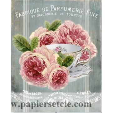 """Carte artisanale Vintage Paris """"Fabrique de Parfumerie fine et Roses"""""""