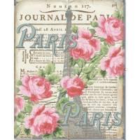 """Carte artisanale Vintage Paris """"Tour Eiffel"""" et Roses"""