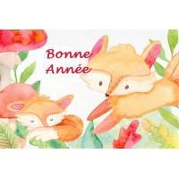 Carte artisanale Bonne Année Petits renards