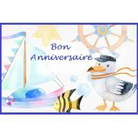 "Carte artisanale Bon Anniversaire""ambiance Marine"""