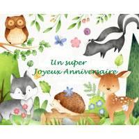 """Carte artisanale Un Super Joyeux Anniversaire """"Animaux des Bois"""""""