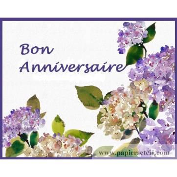 "Carte artisanale Bon Anniversaire ""Hortensias bleus"""