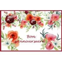 """Carte artisanale Bon Anniversaire Fleurs rouges et bordeaux"""""""