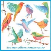"""Carte artisanale Un Merveilleux Anniversaire """"Les Oiseaux"""""""