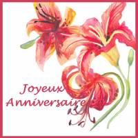 """Carte artisanale Joyeux Anniversaire """"Les Lys"""""""