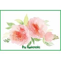 """Carte artisanale Bon Anniversaire """"Fleurs Pêches"""""""
