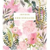 Carte Anniversaire Stephanie Dyment Joyeux Anniversaire Fond rose,fleurs roses et Eucalyptus