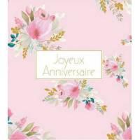 Carte Anniversaire Stephanie Dyment Joyeux Anniversaire Fond rose,Bouquets de fleurs roses