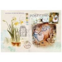Carte artisanale Vintage Beatrix Potter Famille Lapin au repos