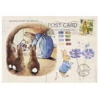 Carte artisanale Vintage Beatrix Potter Famille Lapin en cuisine