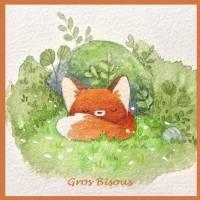 "Carte artisanale ""Gros Bisous"" petit Renard endormi dans l'herbe"