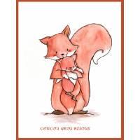 """Carte artisanale Maman et Bébé renard """"coucou gros bisous"""""""