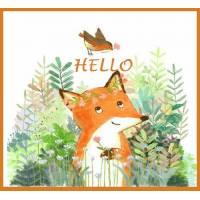 "Carte Petit Renard ""Hello"" artisanale"