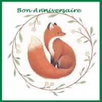 """Carte Petit Renard """"Bon Anniversaire"""" couronne de feuilles"""
