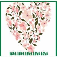 Carte artisanale Azalées LOVE LOVE LOVE LOVE
