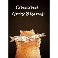 "Carte artisanale Chat ""Coucou Gros Bisous"""
