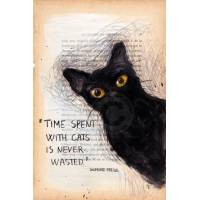 "Carte artisanale Chat ""Time spent with cats is never wasted"" Sigmund freud: Le temps passé avec les chats n'est jamais perdu"