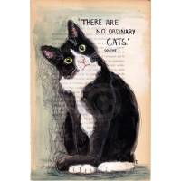 """Carte artisanale Chat """"Il n'y a pas de chat ordinaire"""" Colette"""