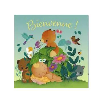 """Carte Elen Lescoat """"Bienvenue""""Bébé avec chat et renard"""