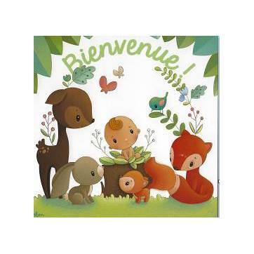 """Carte Elen Lescoat """"Bienvenue"""" Bébé et animaux des bois"""