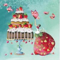 Carte Nina Chen La jeune Femme et la charlotte aux fraises