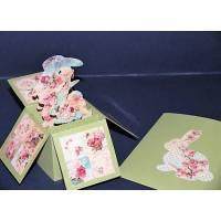 """Carte 3 D Pop Up vert clair """"Les Lapins et les Fleurs"""""""