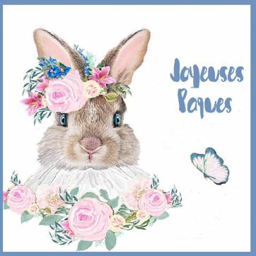 """Carte de Pâques """"Joyeuses Pâques"""" Lapinette  et Fleurs roses"""