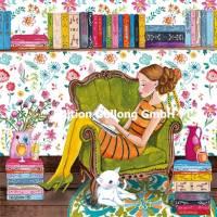 Carte Cartita Design La jeune Femme lisant avec son chat