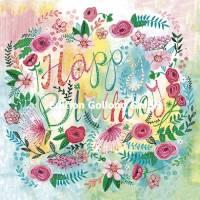Carte Cartita Design Happy Birthday Couronne de Fleurs